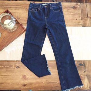 Topshop Moto Tally Crop Jeans Raw Hem Kick Flare